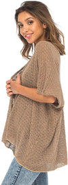 Open Front Short Sleeve Long Shrug-Cotton Sweater