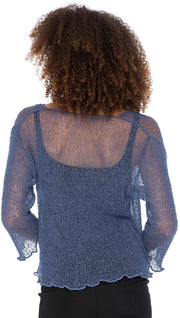 Back From Bali Womens Sheer Shrug Cardigan Cropped Bolero Jacket Lightweight Knit with Ties Blue Jean