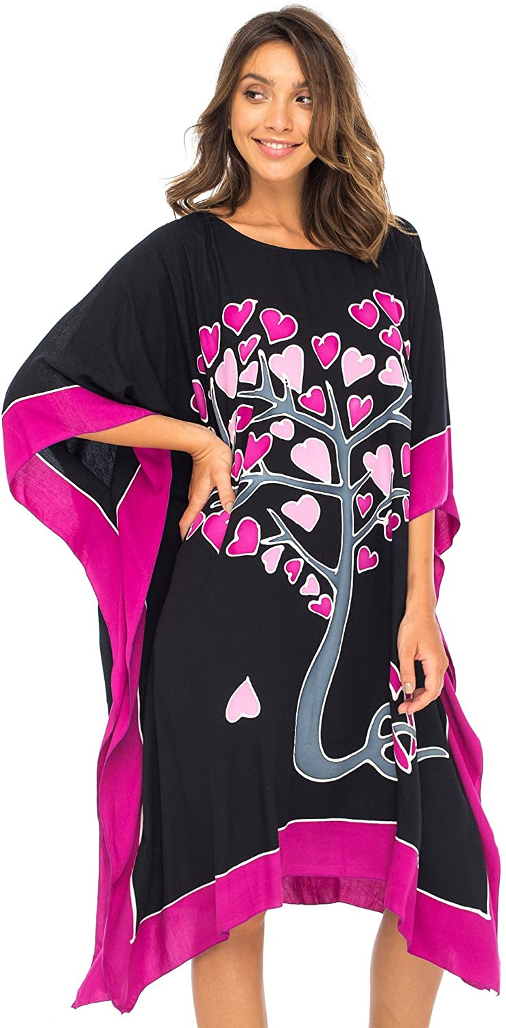 Back From Bali Womens Swimwear Cover Up, Swimsuit Beach Dress Kaftan Poncho in Love Tree Design Black L/XL