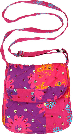 Girls Patchwork Purse With Strap And Sequins Pinks