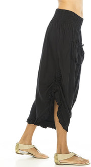 Back From Bali Womens Wide Leg Comfort Elastic Waist Crop Ruffle Hem Audi Pants Black S/M