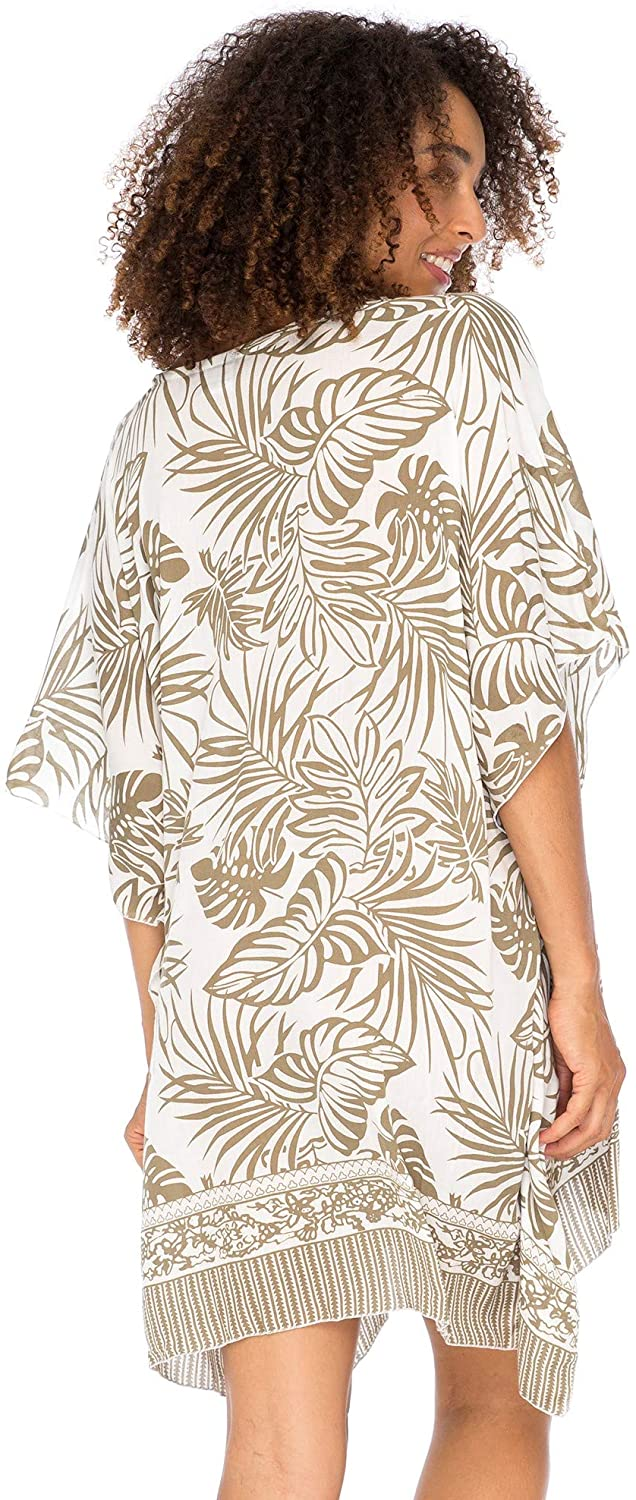 Back From Bali Womens Boho Swimsuit Cover Up Beach Dress Tunic Top Bohemian Leaf Print Short Kaftan Mocca L/XL