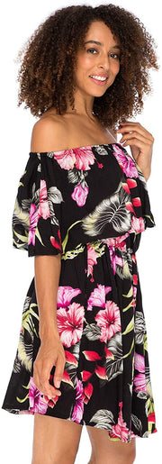 Back From Bali Womens Off Shoulder Floral Print Boho Dress Short Ruffle Beach Sundress Black L/XL