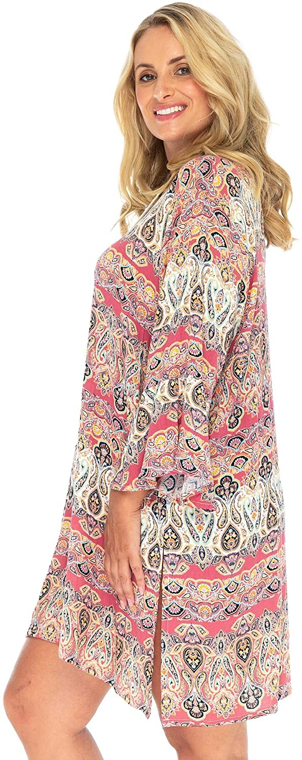 Back From Bali Womens Casual Short Boho Dress Bathing Suit Swimsuit Cover Up Loose Fit Coral Beach Tunic Kaftan Rayon Medium