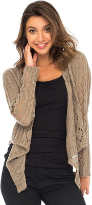 Back From Bali Womens Cable Knit Shrug Bolero Long Sleeve Boho Cardigan Tie Front Beige Small/Medium