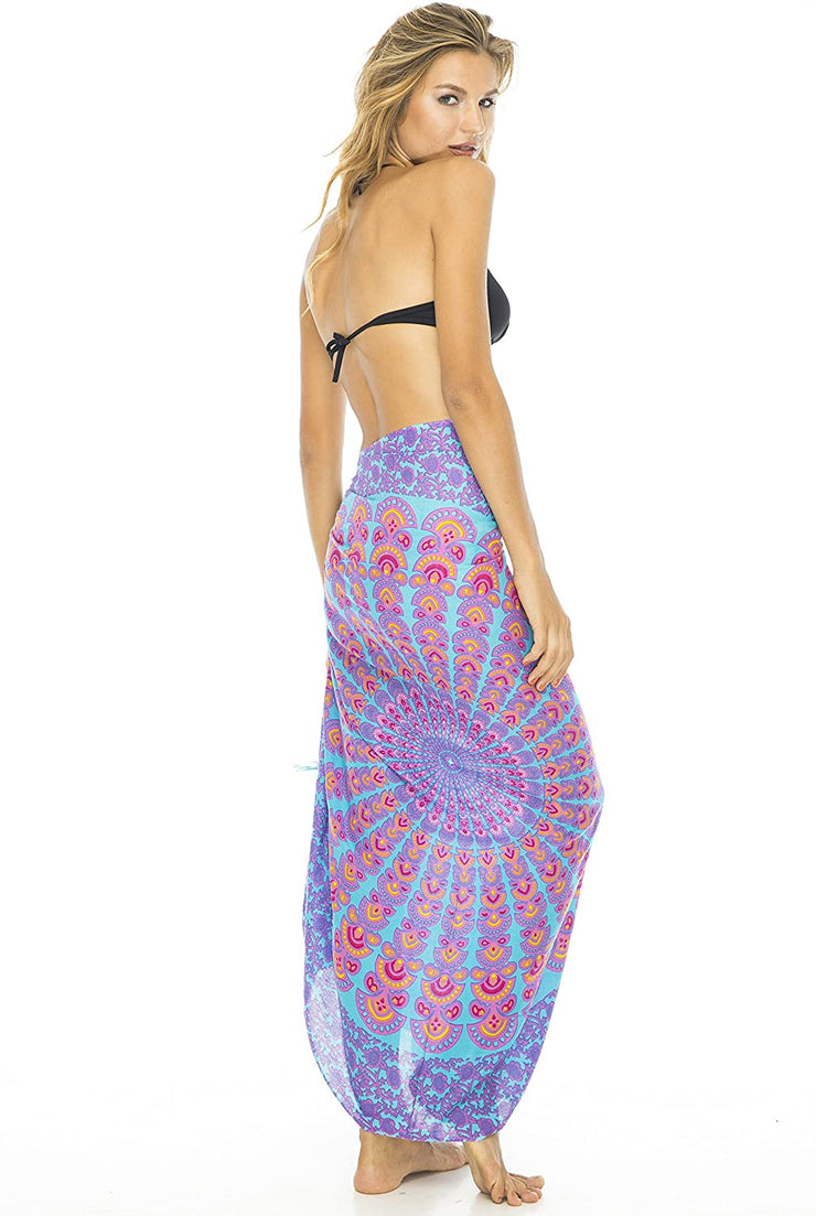 Back From Bali Womens Beach Swimsuit Bikini Cover Up Wrap and Clip Sarong Peacock Pink Blue