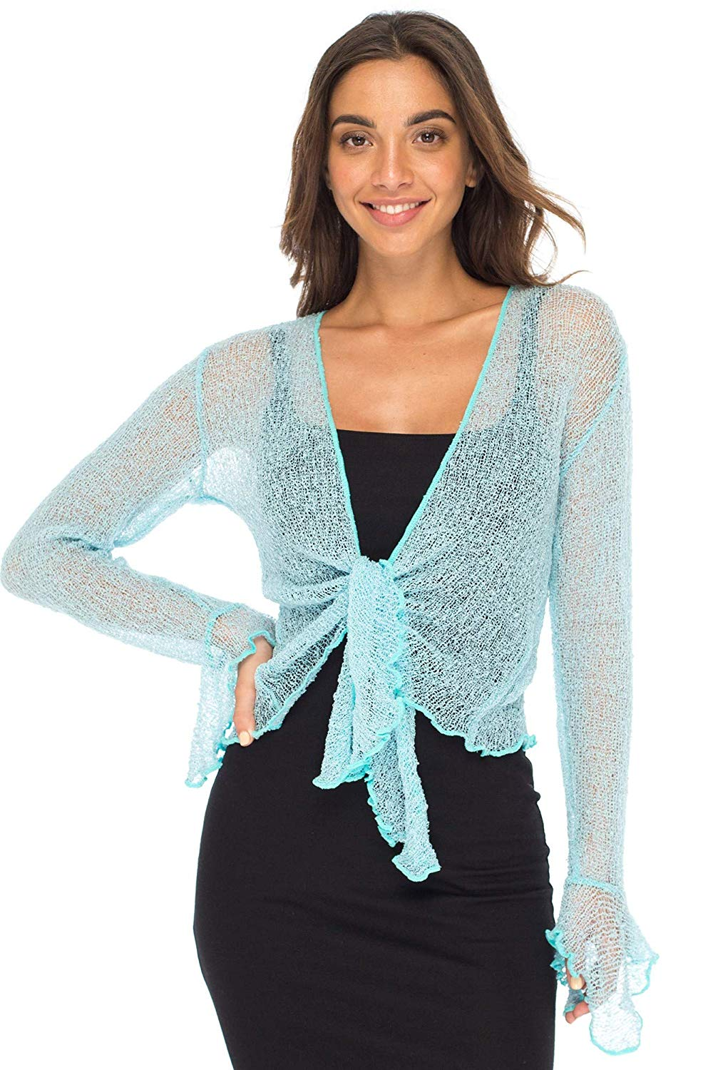 Back From Bali Womens Sheer Shrug Bolero Long Sleeves Cropped Cardigan Lite Bell Sleeves Powder Blue L/XL