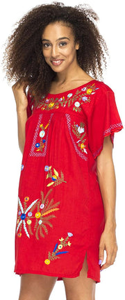 Mexico Embroidered Short Dress Turquoise S/M