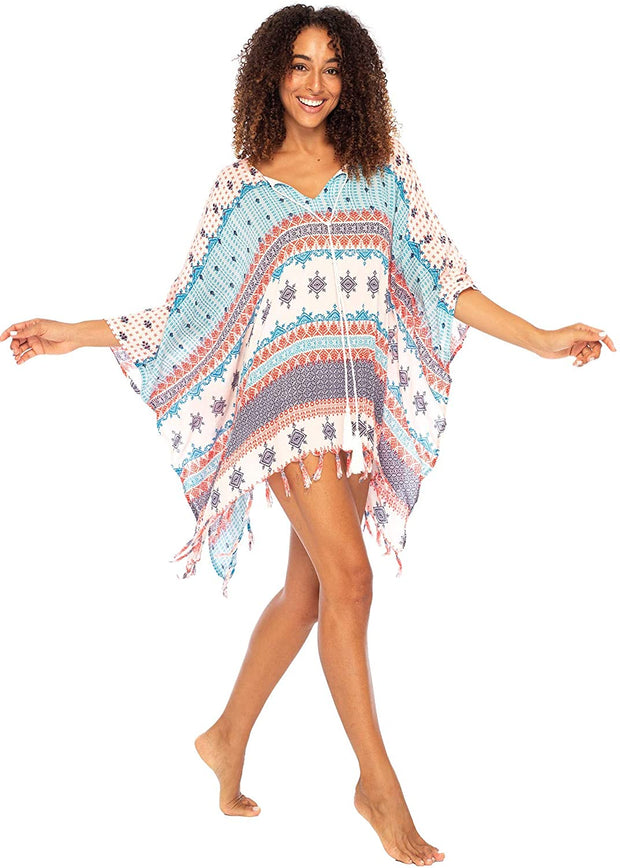 Swimsuit Cover Up Short Beach Poncho Boho V-Neck Tunic Caftan Rayon