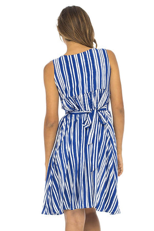Back From Bali Womens Sleeveless Striped Sundress Deep V Neck Casual Summer Party Dress Lily Blue Small