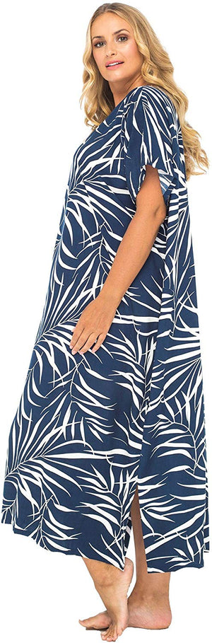 Back From Bali Womens Plus Size Maxi Dress, Beach Cover Up Tropical Floral Long Summer Sundress Rainforest Blue