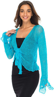 Back From Bali Womens Sheer Shrug Bolero Long Sleeves Cropped Cardigan Lite Bell Sleeves Turquoise L/XL