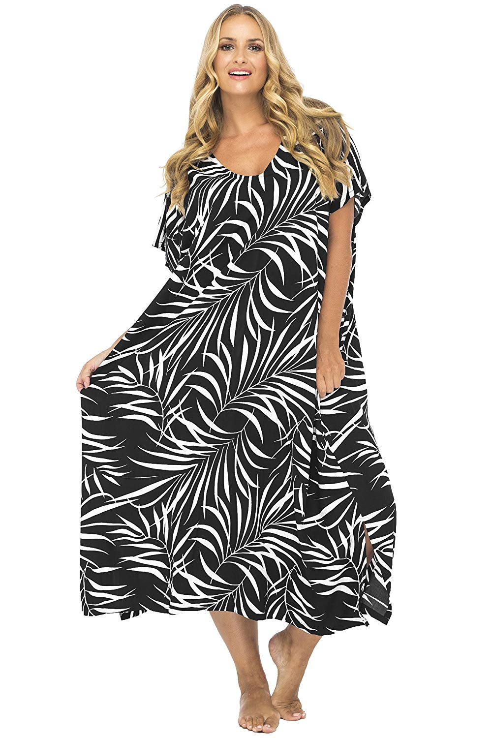 20c592ef6a Back From Bali Womens Plus Size Maxi Dress, Beach Cover Up Tropical Floral  Long Summer