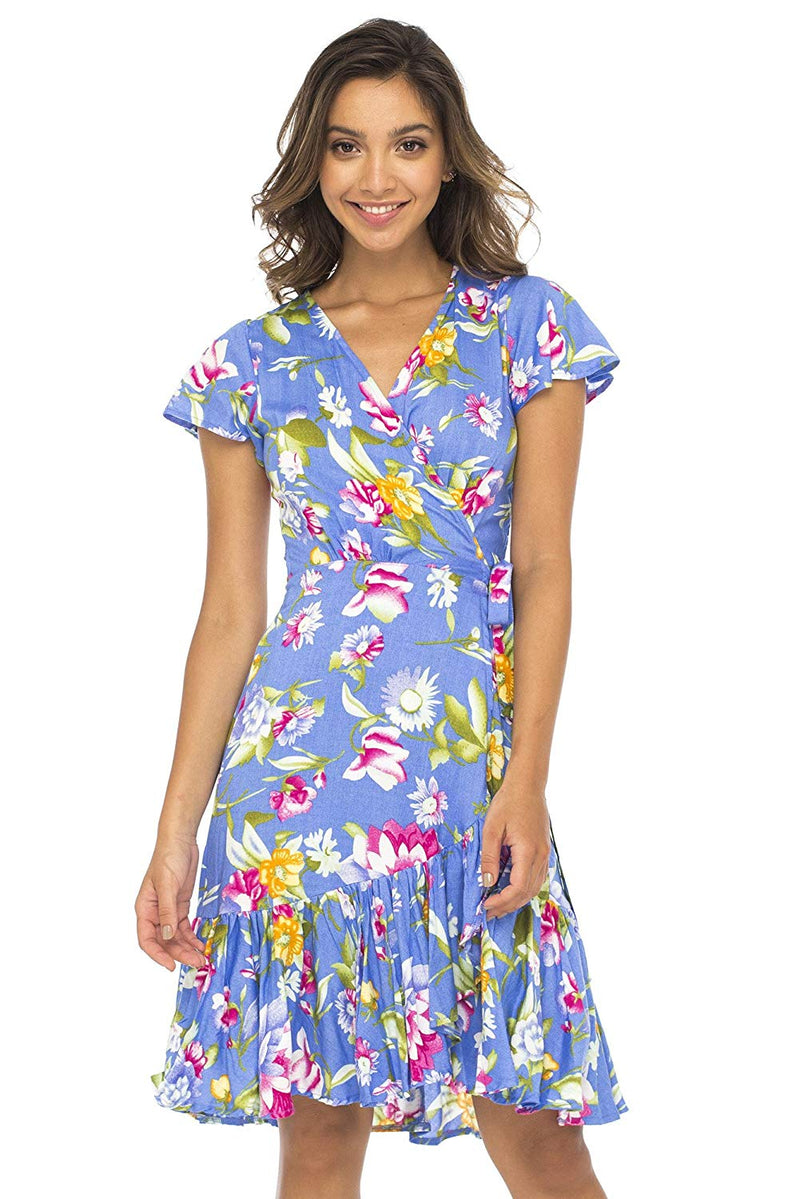 Short Wrap  Dress Floral Print with Ruffle Hem