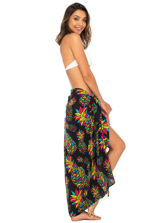 Pineapple Beach Sarong Swimsuit Cover Up with Coconut Clip