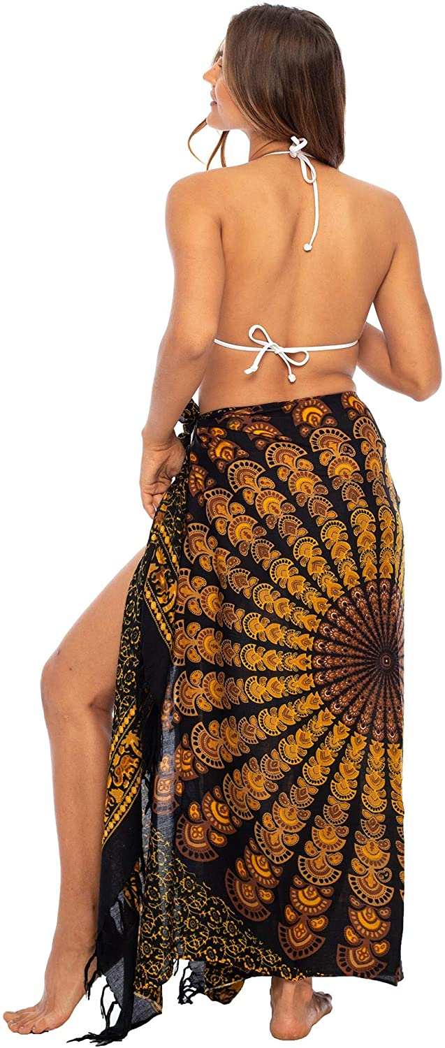 Back From Bali Womens Beach Swimsuit Bikini Cover Up Wrap and Clip Sarong Peacock Black Gold