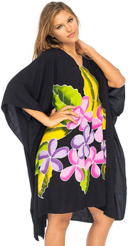Back From Bali Womens Swimwear Cover Up, Frangipani Floral Beach Dress, Tunic Sundress Poncho Black L/XL