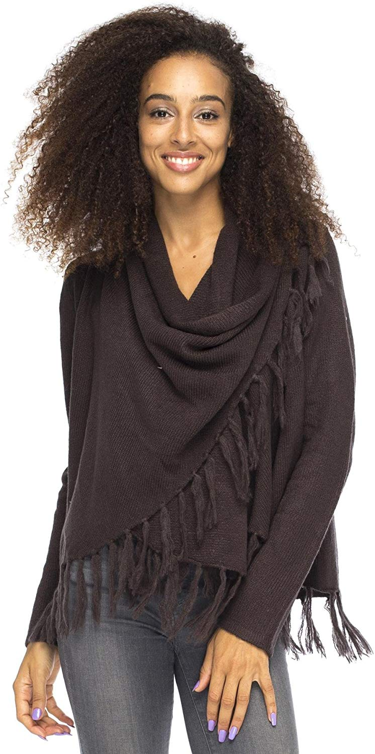 Back From Bali Womens Long Sleeve Winter Cardigan Wrap Knit Boho Cowl Neck Fringe Brown Small/Medium