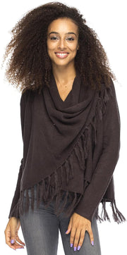 Back From Bali Womens Long Sleeve Winter Cardigan Wrap Knit Boho Cowl Neck Fringe Brown Large/XLarge