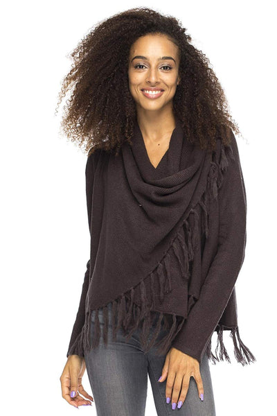 Long Sleeve Winter Cardigan Wrap Knit Cowl Neck Fringe