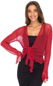 Back From Bali Womens Sheer Shrug Bolero Long Sleeves Cropped Cardigan Lite Bell Sleeves Red L/XL
