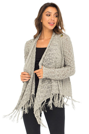 Back From Bali Womens Long Sleeve Cardigan Open Front Shrug Lightweight Fringe Sweater Grey S/M