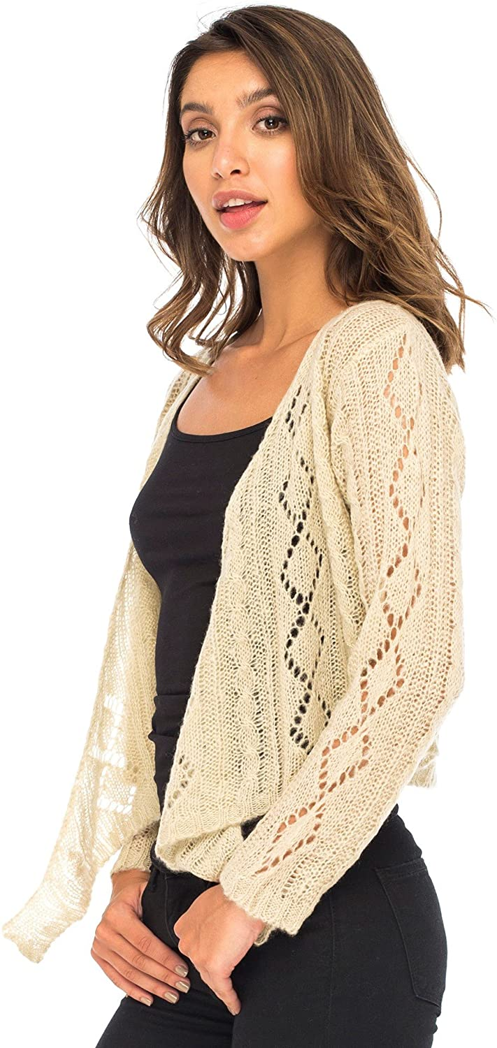 Back From Bali Womens Cable Knit Shrug Bolero Long Sleeve Boho Cardigan Tie Front Natural Cream Large/X-Large