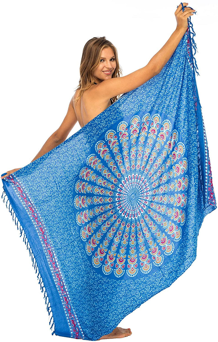 Back From Bali Womens Beach Swimsuit Bikini Cover Up Wrap and Clip Sarong Peacock Gaza Blue