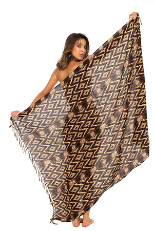Back From Bali Womens Sarong Swimsuit Cover up Tribal Beach Wear Bikini Wrap Skirt with Coconut Clip Brown