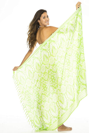 Back From Bali Sarong Wrap Primitive with Coconut Clip Womens Beach Swimsuit Cover up Lime