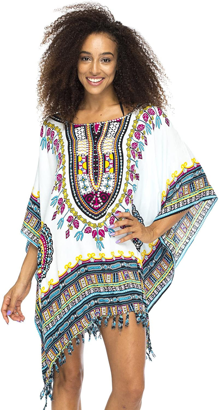 Short African Sequined Calypso Colored Tribal Cover Up