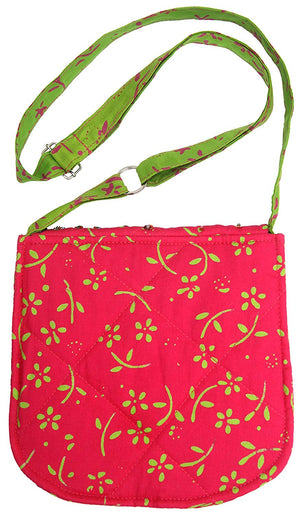 Big Girls Patchwork Purse Raspberry Flowers Back From Bali Cotton Boho Sequins Cross Strap Glitter