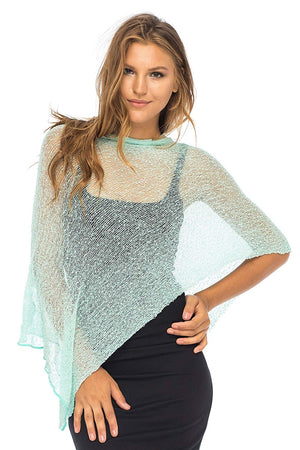 Sheer Bolero Poncho-Lightweight Pullover Sweater
