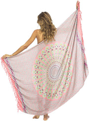 Back From Bali Womens Beach Swimsuit Bikini Cover Up Wrap and Clip Sarong Peacock Coral