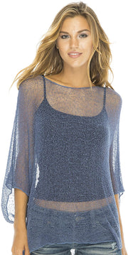 Sheer Blouse Top Lightweight Knit Shrug Sweater Poncho