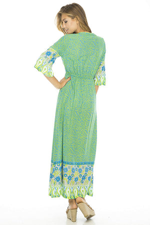 V Neck, Bell Sleeves, Long Maxi Dress