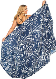 Tropical Print Plus Size Sarong Swimsuit Cover up with Coconut Clip