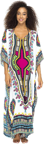 Long Maxi Calypso Print Cover Up Caftan