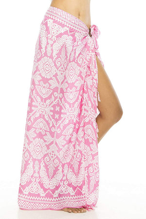 Back From Bali Sarong Wrap Primitive with Coconut Clip Womens Beach Swimsuit Cover Up Pink