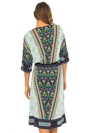 Back From Bali Womens Midi Dress Short Sleeve Boho Print Sundress Casual Summer Dresses