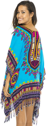 Short Ethnic Calypso Tribal Cover Up Beach Poncho