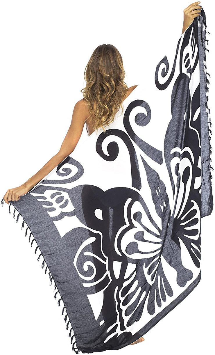 Back From Bali Womens Beach Swimsuit Cover Up Wrap with Coconut Clip Sarong Butterfly Black