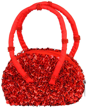 Girl's Sparkly Sequins and Beaded Purse with Hand Strap Red