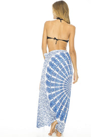 Back From Bali Womens Beach Swimsuit Bikini Cover Up Wrap and Clip Sarong Peacock White Blue