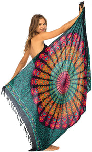 Back From Bali Womens Beach Swimsuit Bikini Cover Up Wrap and Clip Sarong Peacock Black Colorful