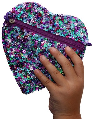 Little Girls Small Heart Shaped Bag with Strap Sequins Multicolored Purple