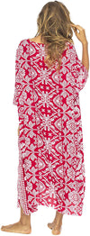 Back From Bali Artha Long Poncho Womens Maxi Beach Dress Caftan Primitive Red