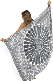 Back From Bali Womens Beach Swimsuit Bikini Cover Up Wrap and Clip Sarong Peacock White Black