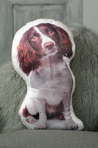 Adorable Liver & White Springer Spaniel Shaped Cushion