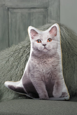 Adorable British Blue Cat Shaped Cushion Cat Cushions - Adorable Cushions